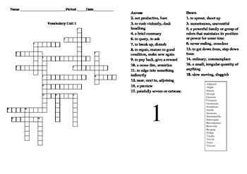 Sadlier Oxford Vocabulary Level B Unit 1 Crossword