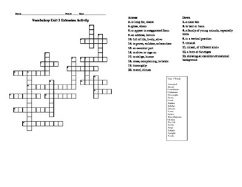 Sadlier Oxford Vocabulary Level B Unit 3 Crossword