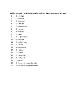 Sadlier-Oxford Vocabulary Level D Unit 11 Assessment