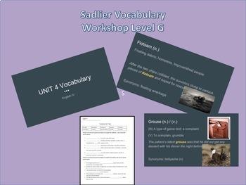 Sadlier Vocabulary Unit G 1-15