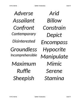 Sadlier:  Level A - Unit 2 Word List