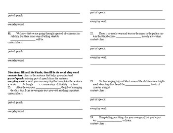 Sadlier Vocabulary Workshop added worksheet Unit 5 1-10 Level A