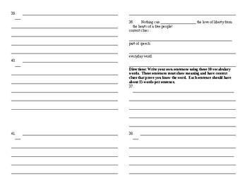 Sadlier Vocabulary Workshop added worksheet Unit 6 1-10 Level B