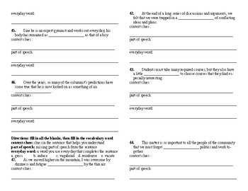 Sadlier Vocabulary Workshop added worksheet Unit 6 11-20 Level A