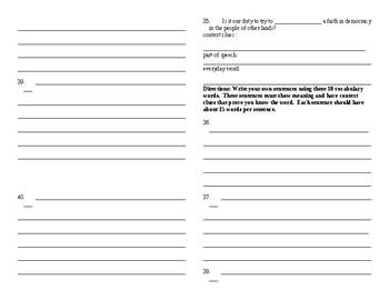 Sadlier Vocabulary Workshop added worksheet Unit 6 11-20 Level C