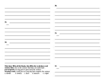 Sadlier Vocabulary Workshop added worksheet Unit 7 1-10 Level A