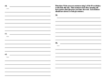 Sadlier Vocabulary Workshop added worksheet Unit 8 1-10 Level A