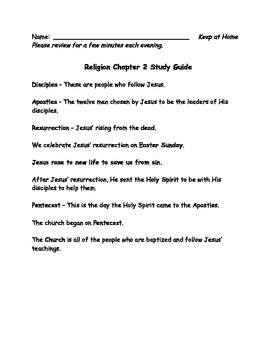 Sadlier We Believe Grade 2 Chapter 2 Study Guide
