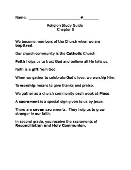 Sadlier We Believe Grade 2 Chapter 3 Study Guide
