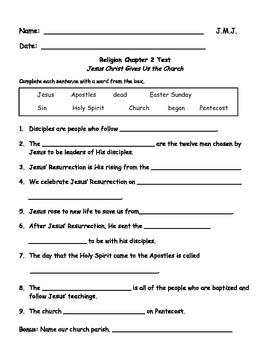 Sadlier We Believe Grade 2 Chapter Assessments (Editable)