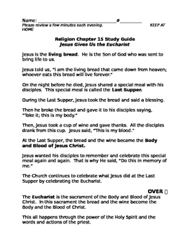 Sadlier We Believe Unit 3 First Eucharist Study Guides and Assessments