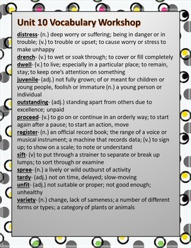 Sadlier's Vocabulary Workshop Level Orange 4th Gr Unit 10 Gallery Walk Editable