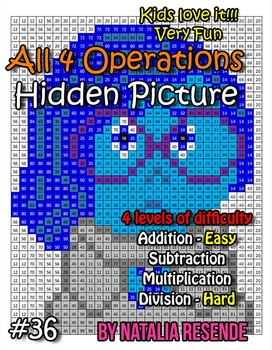 Sadness - Inside Out - Mystery Picture - 4 operations - Four level difficulty