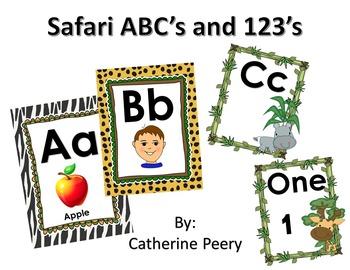 Safari ABC's and 123's Wall Print Outs