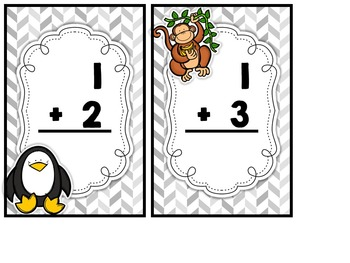 Safari Addition and Subtraction Flash Cards