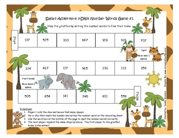Number Words Safari Adventure Differentiated Small Group Games or Math Station