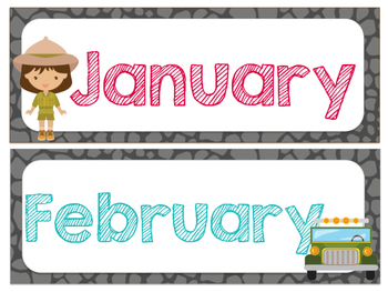 Safari | Jungle Themed Months of the Year (Number Cards included)