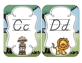 Safari Alphabet Cards: D'Nealian Set