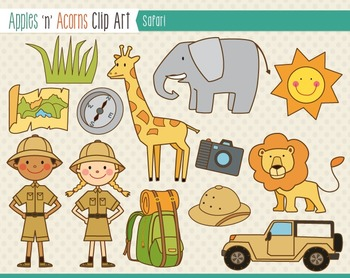 Safari Animal Clip Art - color and outlines