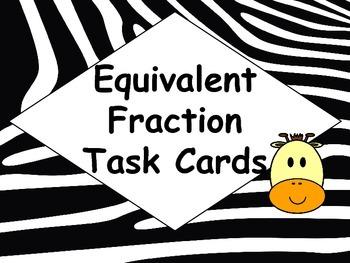 Safari Animal Equivalent Fraction Task Cards