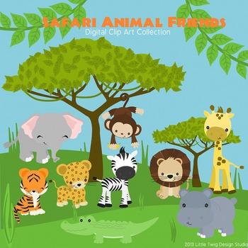 Safari Animal Friends Series 2 Digital Clipart, clip art collection