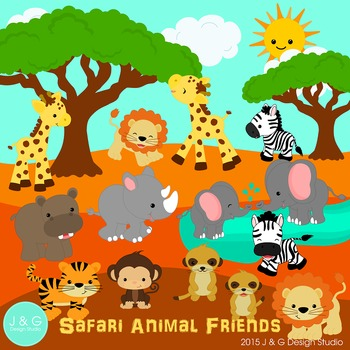 Safari Animal Friends Series 4 Digital Clipart