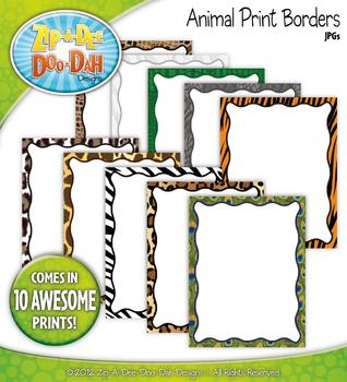 Safari Animal Print Borders — 10 Colorful Graphics!