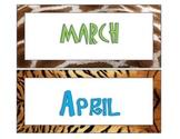 Safari-Animal Print Calendar Set