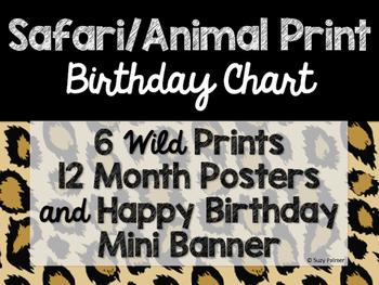 Safari Animal Print Classroom Decor Birthday Chart