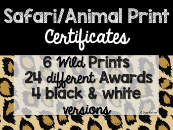 Safari / Animal Print Classroom Decor: Certificates & Awards