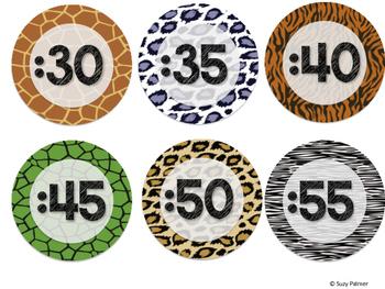 Safari / Animal Print Classroom Decor: Clock Labels