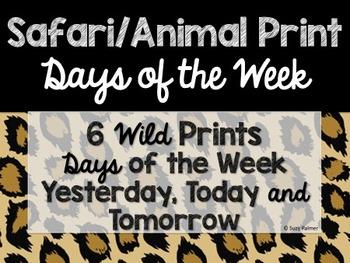 Safari / Animal Print Classroom Decor: Days of the Week