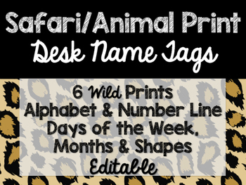 Safari / Animal Print Classroom Decor: Desk Name Tags