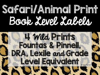 Safari / Animal Print Classroom Decor: Library Level Labels