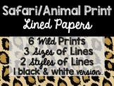 Safari / Animal Print Classroom Decor: Lined Papers