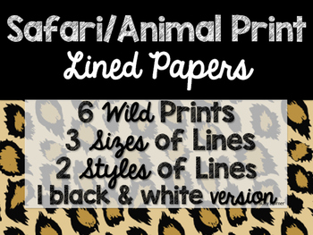 Safari / Animal Print Classroom Decor: Lined Papers
