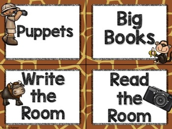 Safari / Animal Print Classroom Decor: Literacy Center Labels