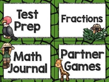 Safari / Animal Print Classroom Decor: Math Center Labels