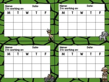 Safari / Animal Print Classroom Decor: Mini Incentive Charts