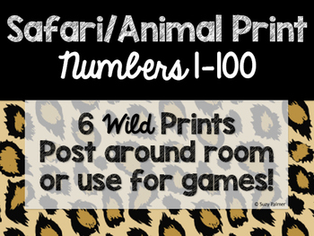 Safari / Animal Print Classroom Decor: Numbers 1-100