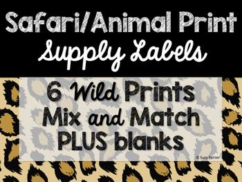 Safari / Animal Print Classroom Decor: Supply Labels
