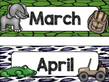 Safari / Animal Print Classroom Decor: Calendar Headers
