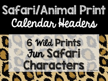 Safari / Animal Print Classroom Decor: Calendar Headers