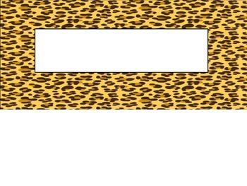 Safari Animal Print Nametag Label