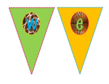 Safari-Animal Print Welcome Pennants *