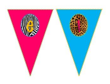 Safari-Animal Print Welcome Pennants *