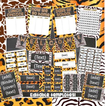 Safari Animal Print and Chalkboard Classroom Decor Kit