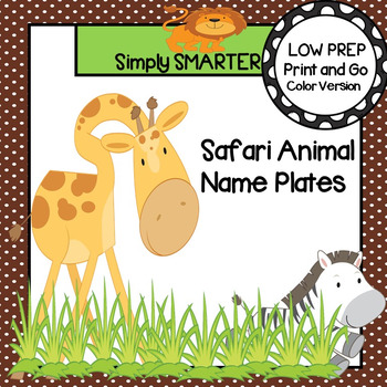 Safari Animal Themed Desk Name Plates with Alphabet and Numbers (1-20)