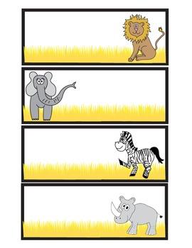 Safari Animal Themed Name Cards