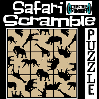Safari Animals 3x3 SCRAMBLE Puzzle for Early Finishers
